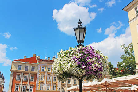 Street lantern in historical center (on Market square) of Lviv, Ukraine photo