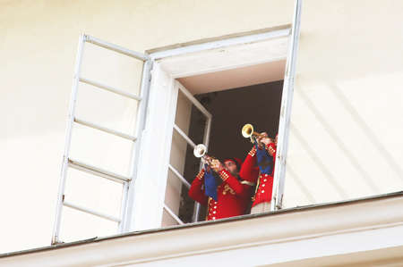 The trumpets  play the anthem of the Lviv city each hour on weekends and at 12.00 on weekdays in Lviv, Ukraine.
