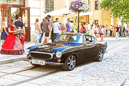 Retro Volvo car on the street in Lviv on the frame of classic car festival \\\Leopolis Grand Prix 2014\\\ in Lviv, Ukraine