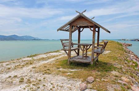 Gazebo on beautiful beach in Samui, Thailand photo