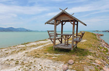 Gazebo on beautiful beach in Samui, Thailand photo