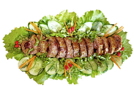 meatloaf: Meatloaf (beef) with salad over white background Stock Photo