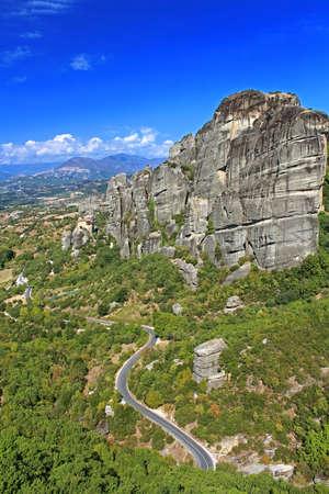 kalampaka: Road to hanging monastery at Meteora of Kalampaka in Greece Stock Photo