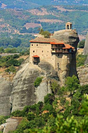 Hanging monastery at Meteora of Kalampaka in Greece photo