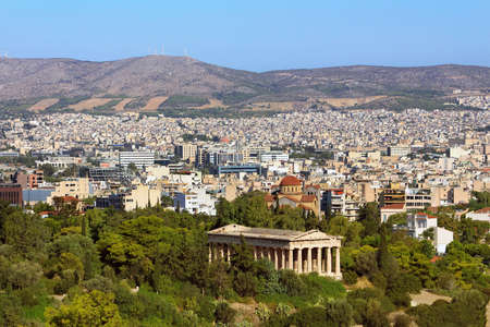 View of Athens city with Temple of Hephaestus from Acropolis hill, Greece Stock Photo