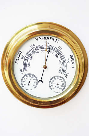 aneroid: Brass Barometer, Thermometer, Hygrometer with White Face