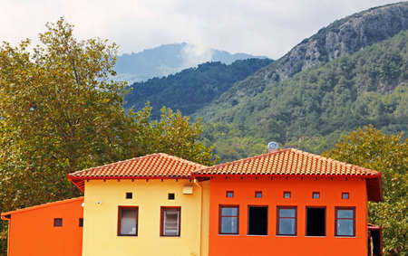 olympus: Red and yellow houses near Mount Olympus and near small town of Litohoro in Greece