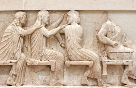 Ancient Greek Temple Frieze detail, Delhpi, Greece photo