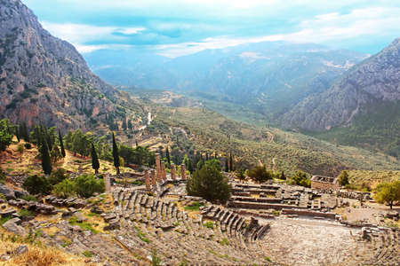 Part of ancient Theater and ruins after the rain in Delphi, Greece photo