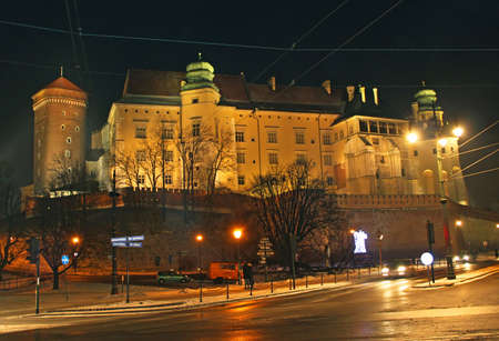 Illuminated Wawel Hill by night in Krakow, Poland Editorial
