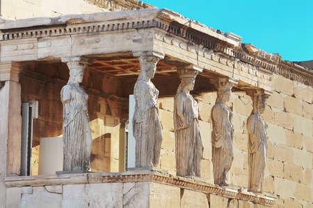 caryatids: Porch of the Caryatids in Erechtheum, Athens, Greece