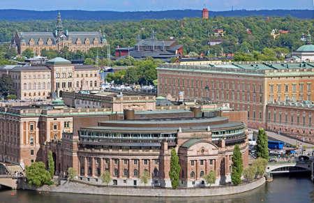 Aerial view of Riksdag (parliament) building and Stockholm palace at Helgeandsholmen island, Stockholm, Sweden