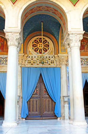 Door of the Metropolitan Cathedral of Athens, Greece Stock Photo