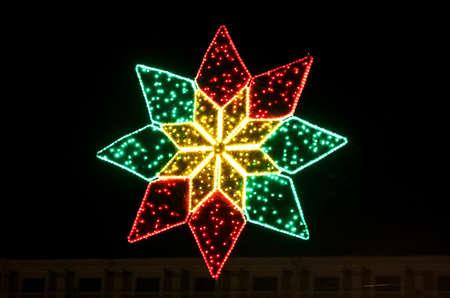 Illuminated christmas star decoration in Kyiv, Ukraine