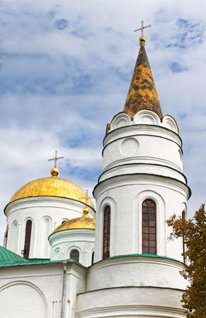 chernigow: Domes of Transfiguration Cathedral in Chernigov, Ukraine