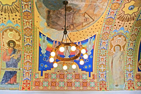 Lamp and hand-painted ceiling in Uzhhorod Castle (Ukraine). Built between the 13th and 18th centuries