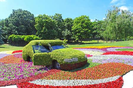 Flower cars exhibition at Spivoche Pole  in Kyiv, Ukraine.