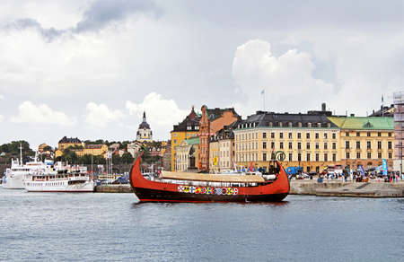 Wooden ship in the centre of Stockholm, Sweden