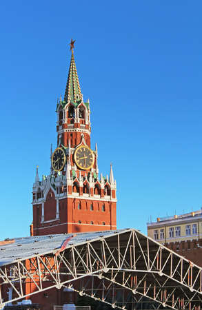 chiming: Spaska Tower of the Moscow Kremlin, Russia Stock Photo