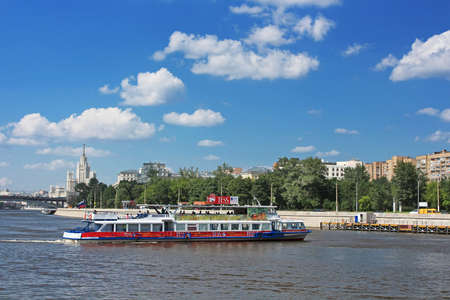 pleasure boat: Floating pleasure boat with people in Moscow, Russia