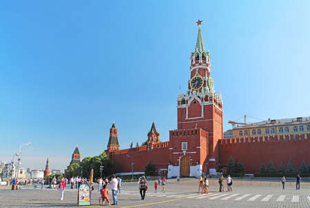 spasskaya: Red Square with Spasskaya Tower in Moscow. The square got its present name Red Square in the 17th century