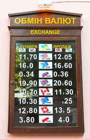 Rates of currency exchange photo