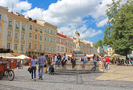 lvov: Market square - historical and tourist centre of the town in Lviv, Ukraine. Historical centre of Lvov is UNESCO World Heritage Site