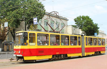 Czech-made Tatra trams in Vinnytsia, Ukraine. The first electric tramway in Vinnytsia started to operate on October 28, 1913. The system was built by the German company MAN AG.