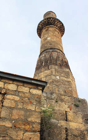 Minaret of famous Kesik Minare in Antalya, Turkey Stock Photo