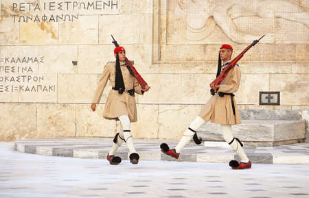 changing form: Guardsmen near parliament in Athens, Greece