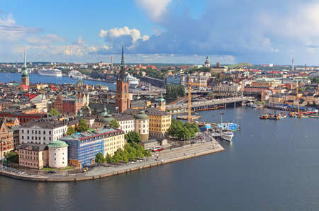 boat house: Panorama of Stockholm Old City, Sweden