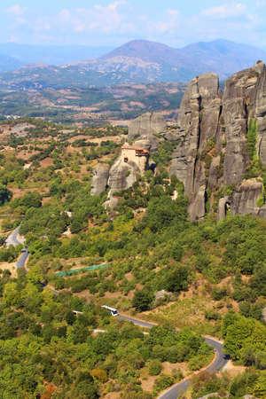 kalabaka: Road to hanging monastery at Meteora, Greece Stock Photo