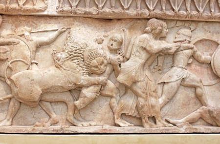 Ancient Greek sculpture representing battle, Greece