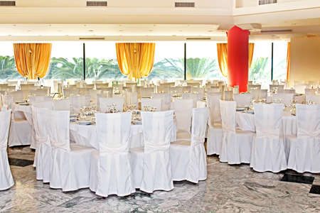 entertaining area: Fancy wedding reception area ready for guests and the party Stock Photo