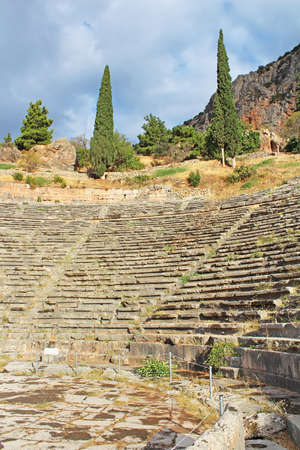 remodeled: Ancient Theatre Delphi Greece. The ancient theatre at Delphi was built was originally built in the 4th century BC but was remodeled on several occasions since