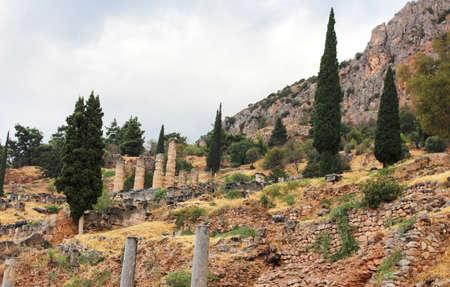 apollo: Old ruins and temple of Apollo in Delphi Greece