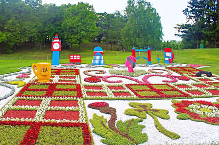 founding: Flower exhibition at Spivoche Pole  in Kyiv Ukraine. Flower exhibition is devoted to the celebration of Europe Day in Kyiv. Flower compositions represent the first 10 founding members of the Council of Europe. United Kingdom