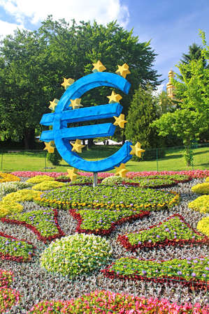 Flower exhibition at Spivoche Pole  in Kyiv Ukraine. Flower exhibition is devoted to the celebration of Europe Day in Kyiv. Flower compositions represent the first 10 founding members of the Council of Europe Editorial