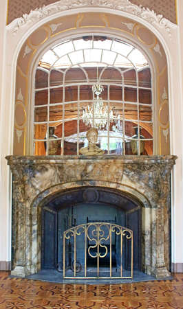 bannister: Fireplace and mirror in House of Scientists  a former national casino until 1939 built by Editorial