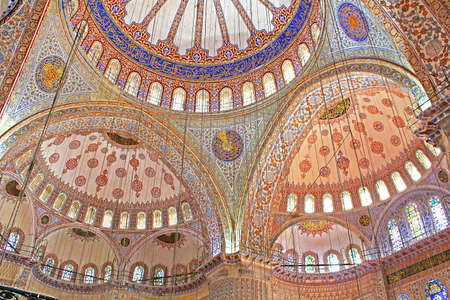 Inside the islamic Blue mosque in Istanbul Turkey Editorial