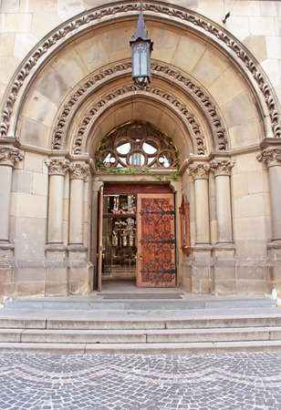 habsburg: Entrance to Cathedral of Saints Olga and Elizabeth Saint Joseph Bilczewski 1903  1911. Lviv Ukraine. Church was built in memory of the popular Empress Princes Bavarian Elizabeth Habsburg known as Sisi Stock Photo