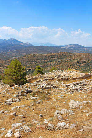 Green hills and valleys around the ruins of Mycenae Peloponnese Greece