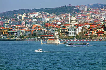 ferries: Maidens Tower and ferries in Istanbul, Turkey