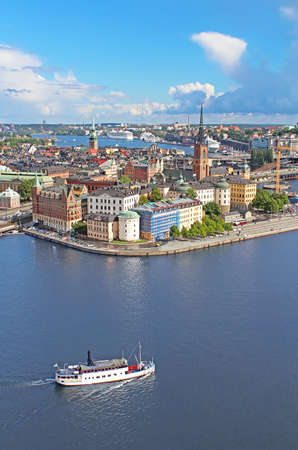apartment tower old town: Panorama of Stockholm Old City and boat, Sweden Stock Photo
