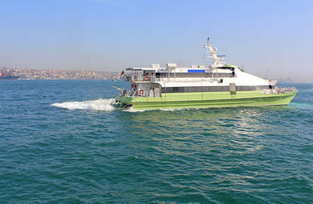 Boat in the Bosphorus, Istanbul, Turkey Stock Photo