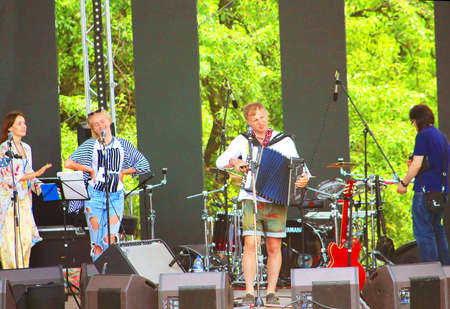 gitar: Ukrainian Singer Oleg Skripka and Band Vopli Vidoplyasova at World Music Festival Kraina Mriy Country of dreams 2015 Show in Kyiv, Ukraine Editorial