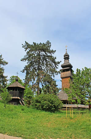 ethnographic: Greek-Catholic Church of the Holy Archangel Michael. Museum of Folk Architecture in Uzhhorod. Built in 1777 without any iron nail. Ukraine