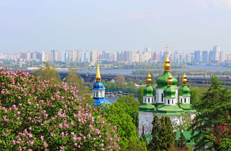 dome type: Panorama of the city of Kyiv, Ukraine. View of Vydubychi Monastery, left bank of the Dnipro River and the modern part of city Kyiv