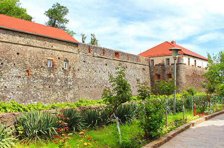 Walls and medieval Uzhhorod Castle in Ukraine