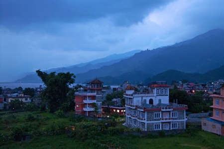 Buildings in the evening near Phewa Lake in Pokhara, Nepal
